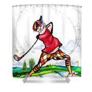 Golf Swing Blues Shower Curtain