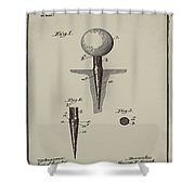 Golf Tee Patent 1899 Aged Gray Shower Curtain