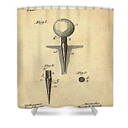 Golf Tee Patent 1899 Sepia Shower Curtain