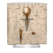 Golf Tee Patent Drawing Sepia Shower Curtain
