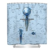 Golf Tee Patent Drawing Watercolor Shower Curtain