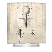 Golf Tee Patent - Patent Drawing For The 1899 G. F. Grant Golf Tee Shower Curtain
