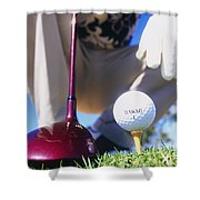 Golfer Sets Up His Shot Shower Curtain
