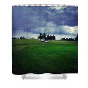 Golfing Before The Rain Golf Cart 01 Shower Curtain