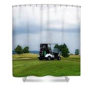 Golfing Before The Rain Golf Cart 02 Shower Curtain