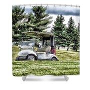 Golfing Before The Rain Golf Cart 03 Shower Curtain