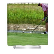 Golfing Chipping The Ball In Flight Shower Curtain