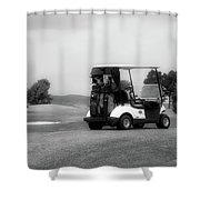 Golfing Golf Cart 06 Bw Shower Curtain
