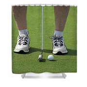 Golfing Lining Up The Putt Shower Curtain