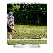 Golfing Sand Trap The Ball In Flight 02 Shower Curtain