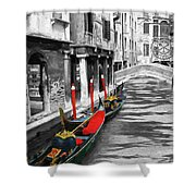 Gondolas On Venice. Black And White Pictures With Colour Detail  Shower Curtain