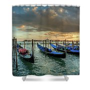 Gondolas Parked For The Evening Shower Curtain