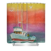 Gone Fishing At Midnight  Shower Curtain