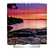 Gone Fishing At Sunset Shower Curtain