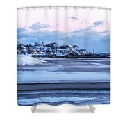 Good Harbor Beach And Thacher Island Covered In Snow Gloucester Ma Shower Curtain
