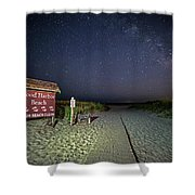 Good Harbor Beach Sign Under The Stars And Milky Way Shower Curtain