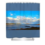 Good Harbor Clouds And Sun Shower Curtain