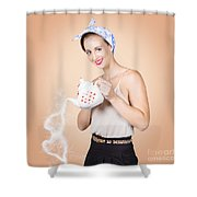 Good Looking Female Pouring Hot Coffee Love Shower Curtain