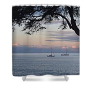 Good Morning Boats Shower Curtain