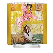 Good Morning Dogie Shower Curtain by Mimi Eskenazi