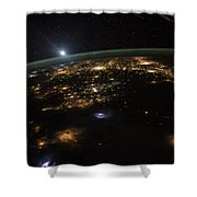Good Morning From The International Space Station Shower Curtain by Artistic Panda