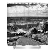 Good Morning In Black And White Shower Curtain