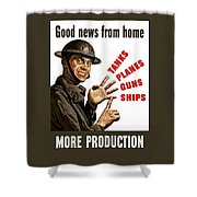 Good News From Home - More Production Shower Curtain