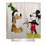 Goofy And Mickey Shower Curtain