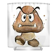 Goomba Watercolor Shower Curtain