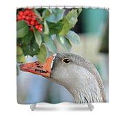 Goose Eating Berries Shower Curtain