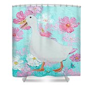 Goose On Floral Background Shower Curtain
