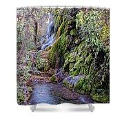 Gorman Falls At Colorado State Park - San Saba Texas Hill Country Shower Curtain