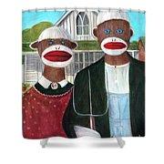 Gothic American Sock Monkeys Shower Curtain