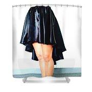 Gothic Black Satin High Low Skirt. Ameynra By Sofia Shower Curtain