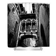 Gothic Bridge In The Gothic Quarter Of Barcelona Shower Curtain