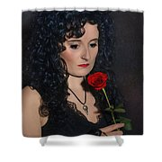 Gothic Woman With Rose Shower Curtain