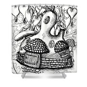 Gourd Fairy House With Snail And Preying Mantis Shower Curtain