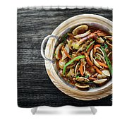 Gourmet Clam And Vegetable Seafood Stew In Spicy Tomato Sauce Shower Curtain
