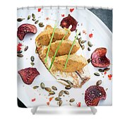 Gourmet Fish Fillet With Chickpea Curry Puree Meal Shower Curtain