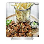 Gourmet Fried Octopus Calamari Style Set Meal With Fries Shower Curtain