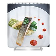 Gourmet Salmon Fish  Fillet With Rice And Guacamole Meal Shower Curtain