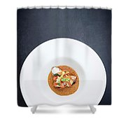 Gourmet Stuffed Squid With Vegetables In Pumpkin Curry Puree Shower Curtain
