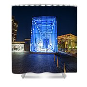 Goverment Center Boston Ma In Blue City Hall Shower Curtain
