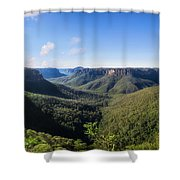 Govetts Leap Lookout Panorama, Australia Shower Curtain