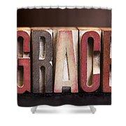 Grace - Antique Letterpress Letters Shower Curtain