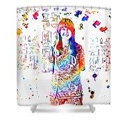 Grace Slick Jefferson Airplane Paint Splatter Shower Curtain