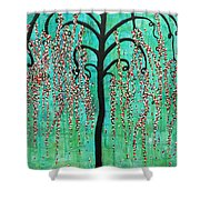 Graceful Willow Print Shower Curtain