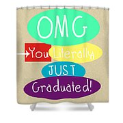 Graduation Card Shower Curtain by Linda Woods