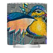 Graffiti Art Of A Colorful Bird Along Street IIn Hilly Valparaiso-chile Shower Curtain