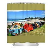Graffiti At The Beach Shower Curtain